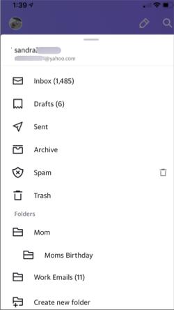 Inmage of folders in the Yahoo Courriel app.